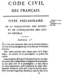 First page of the 1804 original edition of the Napoleonic code
