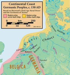 Map of the North Sea coast, ca. 150 AD. (erroneously shows late 20th century land masses)