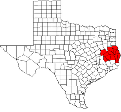 Map highlighting counties of Deep East Texas
