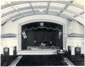 Stage inside Darke Hall, circa 1930