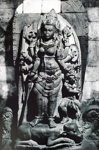 A 9th-century Durga Shakti idol, victorious over demon Mahishasura, in Indonesia.[53]