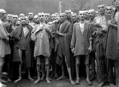 Emaciated survivors of Ebensee concentration camp, May 1945