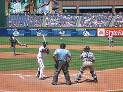 Mark Hendrickson of the Florida Marlins intentionally walking the Atlanta Braves' Yunel Escobar in 2008. Note the Florida catcher, Mike Rabelo, in a standing position behind the opposite batter's box to receive the pitch