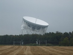 The Grade I listed Lovell Telescope at Jodrell Bank Observatory.