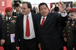 Stone with Hugo Chávez at the Venice International Film Festival, July 9, 2009 for the screening of South of the Border
