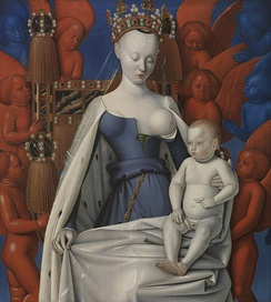 Virgin and Child Surrounded by Angels(depiction of Sorel by Jean Fouquet)