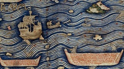 Detail of the Fra Mauro Map describing the construction of the junks that navigate in the Indian Ocean.