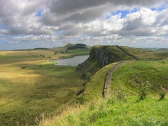 The Whin Sill at Crag Lough, showing Hadrian's Wall running along the top.