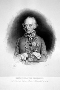 Engraved reproduction of a formal portrait of Bellegarde. He is an elderly man with wispy grey hair and long eyebrows, bony features and an imperious expression. He wears military uniform and numerous decorations. His gloved hands are folded over the hilt of a sword.