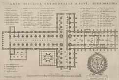 An engraving showing the cross-shaped plan of the cathedral.