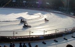 Motorcycle ice racing using studded tires