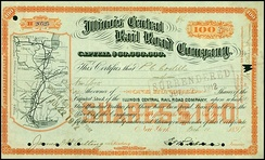 Illinois Central Rail Road share, issued 1899