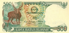 The Javan rusa is featured on the 500-rupiah banknote.