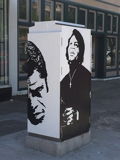 This traffic box public art was commissioned to be painted in tribute to the late great Godfather of Soul in 2015. Ms. Robbie Pitts Bellamy is the artist.