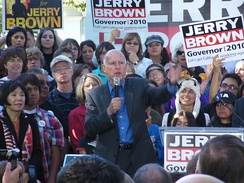 Jerry Brown at a campaign rally in Sacramento two days before the election