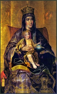 Theotokos and The Child, the late-17th-century Russian icon by Karp Zolotaryov, with notably realistic depiction of faces and clothing.