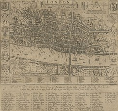 Map of London in 1593. There is only one bridge across the Thames, but parts of Southwark on the south bank of the river have been developed.