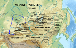 Mongol states in the 14th to 17th centuries.
