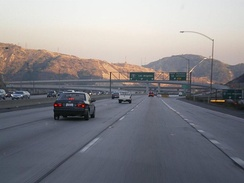 Southbound view of I-5 near its intersection with SR 14, at the Newhall Pass Interchange