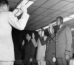 Oscar K. Chamber, the first African American ROTC graduate at Arlington State College, 1965