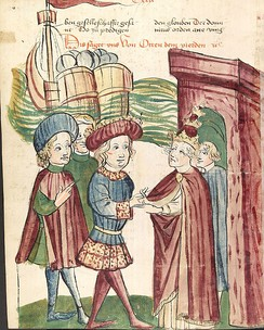 Otto IV and Pope Innocent III shake hands