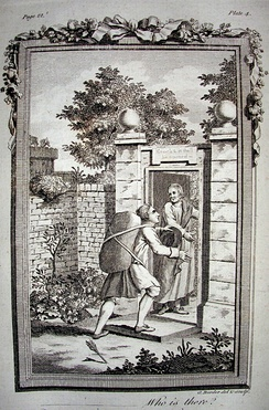 Christian enters the Wicket Gate, opened by Goodwill. Engraving from a 1778 edition printed in England.