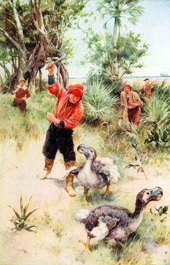 The dodo became extinct during the mid-to-late 17th century due to habitat destruction, hunting, and predation by introduced mammals.[1] It is an often-cited example of modern extinction.[2]