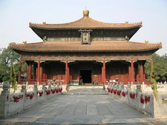 One of the main halls of the Guozijian (Imperial College) in downtown Beijing, the highest institution of higher learning in pre-modern China