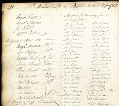 Extract from membership register for Revere, Warren and Palfrey.