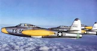 Republic F-84E-1-RE Thunderjets of the 512th Fighter-Bomber Squadron. AF Ser. No. 49-2066 is in the foreground.
