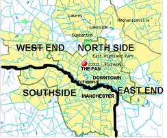 Richmond is often subdivided into North Side, Southside, East End, and West End