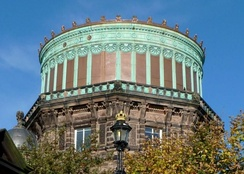 The East Tower of the Royal Observatory, Edinburgh, showing the contrast between the refurbished copper installed in 2010 and the green color of the original 1894 copper.
