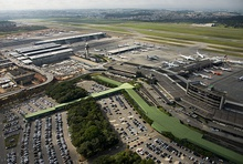 Aerial view of the São Paulo–Guarulhos International Airport, the busiest airport in South America.
