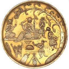 Ancient Iranians attached great importance to music and poetry. 7th century plate depicts Sassanid era musicians. The British Museum.