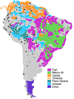 Some of the greater families of South America: dark spots are language isolates or quasi-isolate, grey spots unclassified languages or languages with doubtful classification. (Note that Quechua, the family with most speakers, is not displayed.)