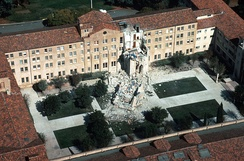 One person died when a five-story tower collapsed at St. Joseph's Seminary in Santa Clara County.