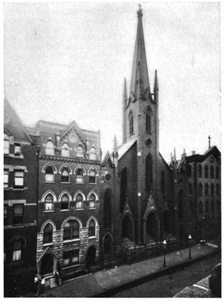 St. Nicholas Kirche at East 2nd Street, just west of Avenue A. The church and almost all buildings on the street were demolished in 1960 and replaced with parking lots for the Village View Houses[71]