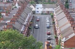 Terraced houses are typical in inner cities and places of high population density.