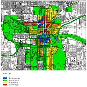 Zoning scheme of the center of Tallahassee, Florida, United States.