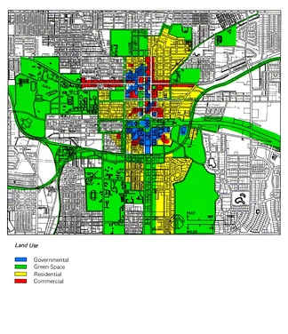 Zoning scheme of the center of Tallahassee, United States.