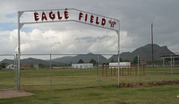 The old Eagle Field, before the 2014 construction of the new stadium, with Threemile Peak in the background