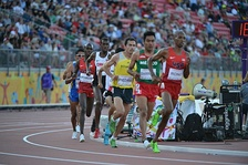 Athletics has been held at all seventeen editions of the Pan American Games. Pictured here is the 10,000 metres event for men at the 2015 edition in Toronto