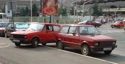 Two earlier Yugo models in Priština