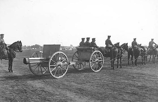 A horse drawn Schneider 75mm cannon. In 1915, the Bulgarian Army had 428 quick-firing 75 mm field guns.[81]