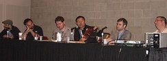 A panel of non-founding Image creators at the 2010 New York Comic Con (l–r): Tomm Coker, Tim Seeley, Ben McCool, James Zhang, Nick Spencer and Ron Marz