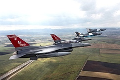 """Red Tails"" F-16 Fighting Falcons of the 100th Fighter Squadron, Montgomery."