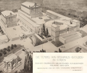 1921 reconstruction of the Baalbelk temple complex.jpg
