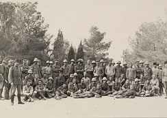 British prisoners guarded by Ottoman forces after the First Battle of Gaza in 1917.