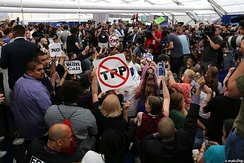 Protesting Sanders supporters storm a media tent