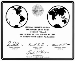 Plaque left on the Moon by Apollo 17